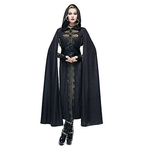 Devil Fashion Frauen Punk Long Kapuzen Trenchcoat Gothic Fitted Robe f¨¹r Herbst oder Wither
