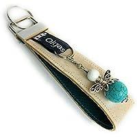 Schlüsselanhänger Sylt aus Kork in 7 Varianten - Handmade - Valentinsgeschenk - Geschenk - (Variante hellblau mit Engel / Schutzengel)