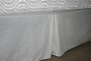 50/50 Poly Cotton Percale Daybed Bedskirt - Tailored with Kick pleats with Split Corners 18 drop - White by Linen Superstore