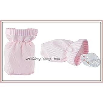 Pochette sucette rose en tissu coton (Protection Sucette artisanale Handmade)