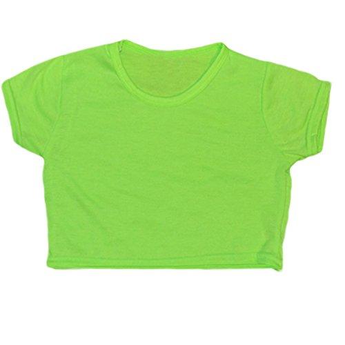 Kinder Mädchen Neon einfarbiges, fluoreszierendes, kurzärmeliges T-Shirt, bauchfreies Top für Tanzen und Gymnastik, Alter 5 bis 13Jahre, Grün - Neon green, 33cm -