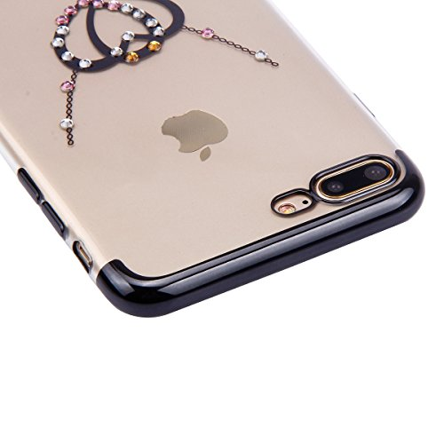 Coque iPhone 6 Plus ,Coque iPhone 6S Plus, Coque Silicone Gel 360 Protection intégral iPhone 6/6S Plus Glitter Etui,Ukayfe [Full-Body 360 Coverage Protective] Bling avec brillants Glitter Paillette Ho Noir-L'amour double