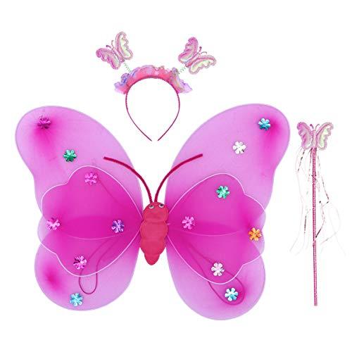 BESTOYARD 3 stücke Kinder Schmetterlingsflügel Mit Lampen Fee Kostüm Set Nette Doppeldeck Garn Schmetterling Handband Stick für Party (Rosy)