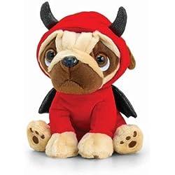 Perrito Carlino demonio de peluche para San Valentín, 14 cm