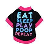 JACKY-Store Dog Clothing Cotton T-Shirt Puppy Costume for Small Pet Dog Clothes Costume Puppy Cotton Blend T-Shirt (L, Black)