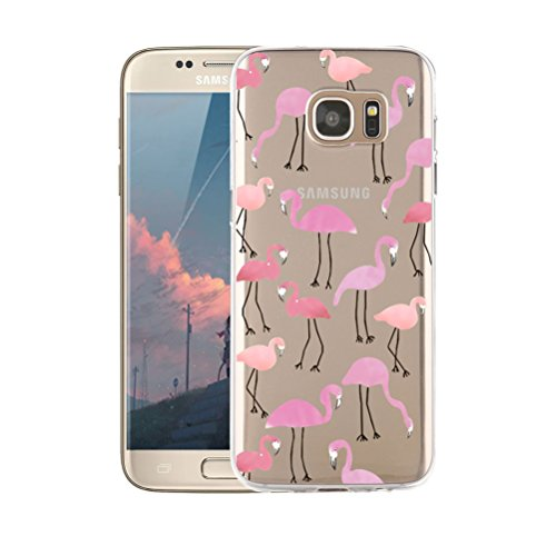 Samsung Galaxy S7 Case, Shumeifang® Ultra Thin Soft Gel TPU Silicone Case Cover with Cute Cartoon for Samsung Galaxy S7 - Flamingo