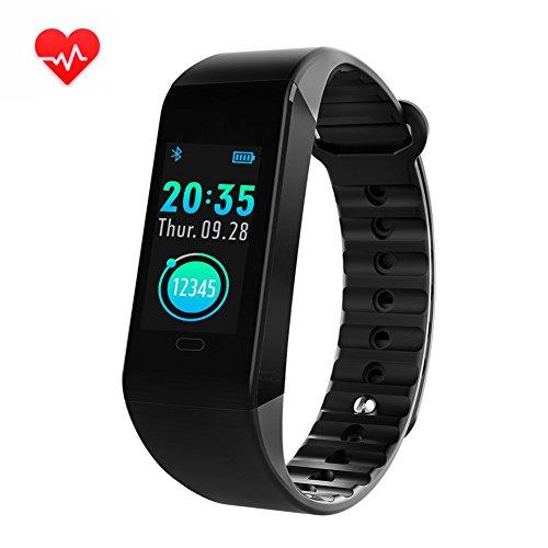 Oozimo activity tracker orologi con cardiofrequenzimetri ip67 impermeabile braccialetto intelligente per bambini donne uomini,black