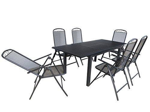 """7-teilige Luxus Aluminium Streckmetall Gartenmöbelgruppe \""""Kediri\"""" , 6 Klappsessel und Ausziehtisch Detroit 150/210x90 anthrazit, Doppler"""