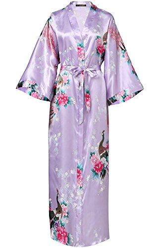 BABEYOND Damen Morgenmantel Maxi Lang Seide Satin Kimono Kleid Pfau Muster Kimono Bademantel Damen Lange Robe Schlafmantel Girl Pajama Party 135cm Lang (Hell Lila) (Lila Kimono)