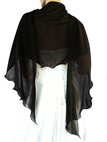 LadyMYP© Romantische Chiffon Rundstola, Schal für Abendkleid / Cocktailkleid, Hochzeit, viele Farbe zur Wahl (017: schwarz)