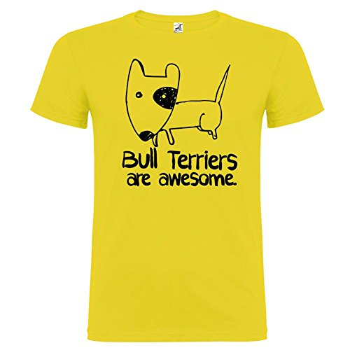 Bikerella T-Shirt Manica Corta Unisex Bull Terriers Are Awesome by by Giallo/Nero