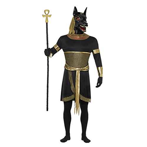 NET TOYS Anubis Kostüm Antike Halloweenkostüm L 52/54 Ägyptischer Gott Horrorkostüm Schakal Ägypten Ganzkörperkostüm Hund Faschingskostüm