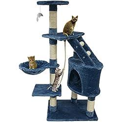 Árbol para gato de color azul con rascador – Torre para rascar de sisal natural