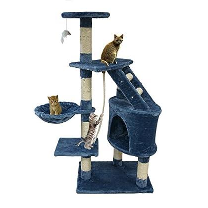 Todeco Árbol para Gatos, Escalador para Gatos - Material: MDF - Tamaño de la casa de gato: 30,0 x 30,0 x 42,9 cm - 120 cm, 5 plataformas, Azul