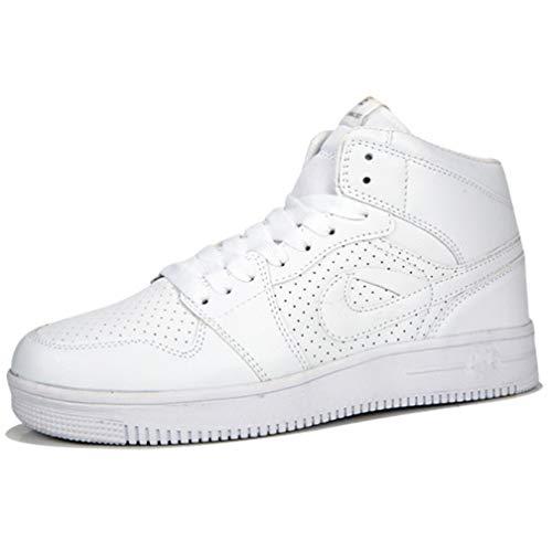Casual Sneakers Laufschuhe Basketball Schuhe Leder Mode High Tide Schuhe Männermode Große Größe Casual Sports Männer Und Frauen Schuhe,White,47