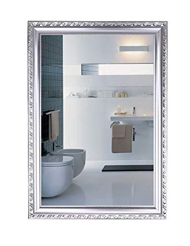 Europäische Badezimmer Spiegel Badezimmer Wand Dressing Wandbehang Wasserdicht Wash Kosmetikspiegel Badezimmer Spiegel Badezimmer Mit Rahmen Spiegel (Silber) (größe : 50cm*70cm) -