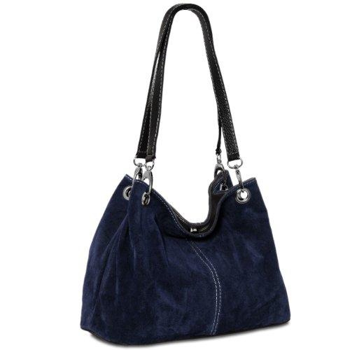Caspar TL621 klassische Damen Wildleder Handtasche, Farbe:dunkelblau (Clutch Gefütterte Vintage)