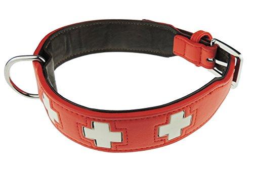 Großen Echte Leder Glow in Dark Schweizer Kreuz Hund collar- erhältlich in 5Farben (Bulldog Weihnachts-strumpf)