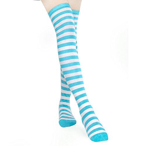 Kostüm Gestreifte Baumwolle - HABI 1 Paar Gestreifte blau & weiß Kniestrümpfe Frauen über Knie-Lange Overknee Überknie Strümpfe cosplay Kostüm