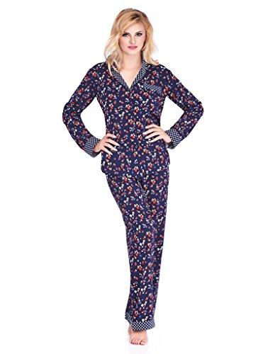 Mio Lounge Trudy Blue Multi Floral Polka Dot Soft Brushed Cotton Pyjama Set PJs ML16C5PJ XL -