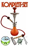 Aladin Origins Shisha Bogota, Wasserpfeife, Geschenk-Set mit Kohle und Bigg Ice Rockz Lemon (Rot-Orange)