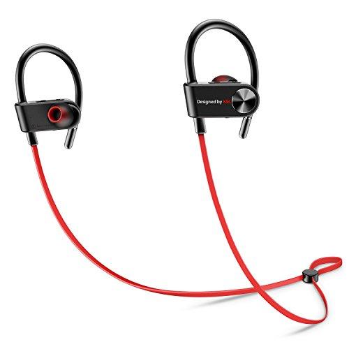 Auriculares Deportivos Bluetooth, Auriculares Inalámbricos In ear Mic IPX5 Sweatproof HD Auriculares Cancelación de Ruido Estéreo de Música Ganchos para la Oreja Secure Fit para Gimnasio Running Workout - Manos Libres para iPhone, Samsung, Sony, LG, etc. - Rojo