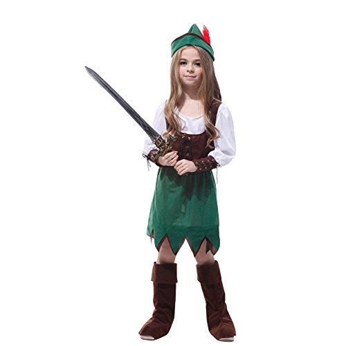 LSERVER Kinderbekleidung Weihnachtsfeier Bühnenvorstellung Hunter Kostüm, Grün, XL (geeignet für 130-140 cm)