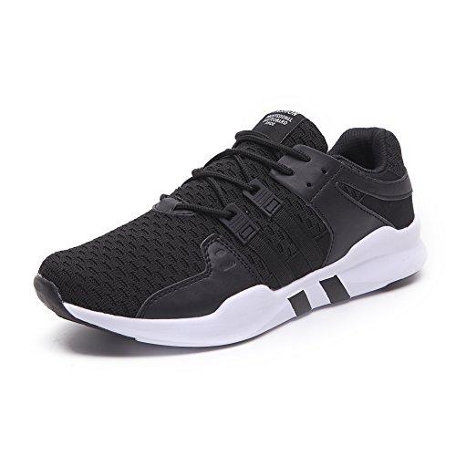 HUSK'SWARE Herren Laufschuhe Atmungsaktiv Gym Turnschuhe Freizeit Schnürer Sportschuhe Sneaker- Gr. 44 EU, Schwarz Weiß