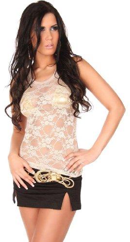 In-Style Damen Träger-Top mit Netz & Stickerei verziert Einheitsgröße (32-