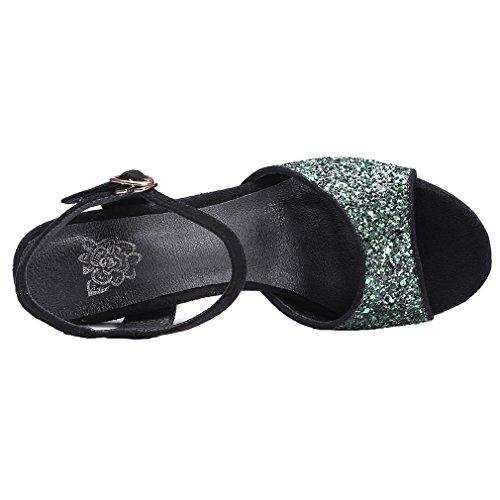 ENMAYER Womens Retro Ankle Strap Nubuck Leder Wölbung Sandalen Block High Heels Open Toe Pumps Dicke Ferse Schuhe Grün#913