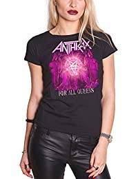 Anthrax T Shirt For All Queens band logo Nue offiziell damen Skinny Fit