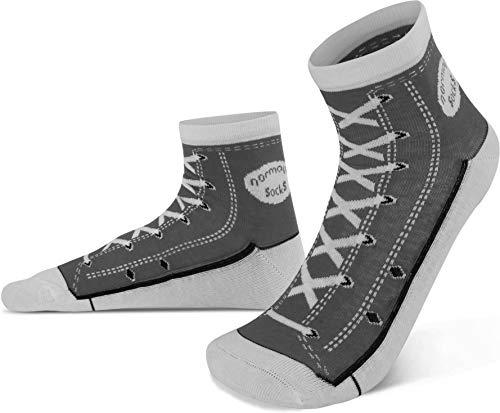 normani 4 Paar Socken im Schuh-Design mit vielen originalgetreuen Details Farbe Grau Größe 39/42