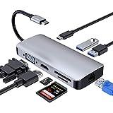 RayCue USB C Hub, Typ C Hub (8 in 1) Adapter mit 4K @ 30Hz Buchse HDMI, VGA, USB 3.0 x 2, PD Stromversorgungsanschluss, SD/TF Kartenleser, 1000M LAN Ethernet Port