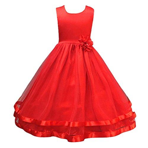 Linnuo ragazze vestito festa da principessa matrimonio fiore vestito per compleanno partito festa nuziale prom (rosso, 150 cm)