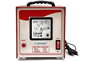 Electronicspices 12V 10A Generator/Charger Compatible with Automatic Battery, AMF, Tubular for Automotive/Car (Red with Ivory Front Panel)