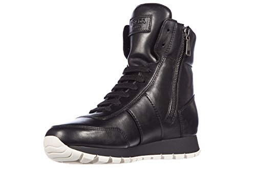 Prada chaussures baskets sneakers hautes femme en cuir vitello soft nero Noir
