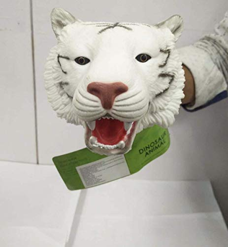 VikriDA White Tiger Head Realistic Latex Rubber Animal Hand Puppet Glove Classic Toy 10 inch