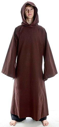 HEMAD Mönchskutte Mittelalter Kleidung Kutte Mönchsrobe schwarz (M, braun)