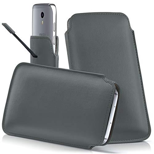 moex Meizu PRO 5 | Hülle Grau Sleeve Slide Cover Ultra-Slim Schutzhülle Dünn Handyhülle für Meizu PRO 5 Case Full Body Handytasche Kunst-Leder Tasche
