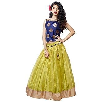 White Button Girl's Blue N Lime Green Jequard Silk Net Flared Readymade Wedding Wear Lehenga Choli Dress