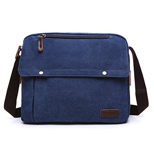 MeCooler Herrentaschen Vintage Umhängetasche Herren Canvas Messenger Taschen Schultertasche für Laptop Reisetasche Freizeit Freitag Retro Schule Kuriertasche Blau