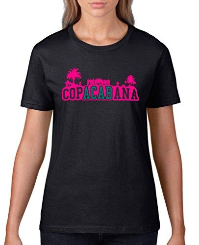 Comedy Shirts - Copacabana Palmen - Damen T-Shirt - Schwarz / Pink-Türkis Gr. 3XL