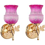 Somil New Style Attractive Designer Sconce Colourfull Hand Decorative Glass Wall Lamp With All Fitting & Fixture (Set Of Two)