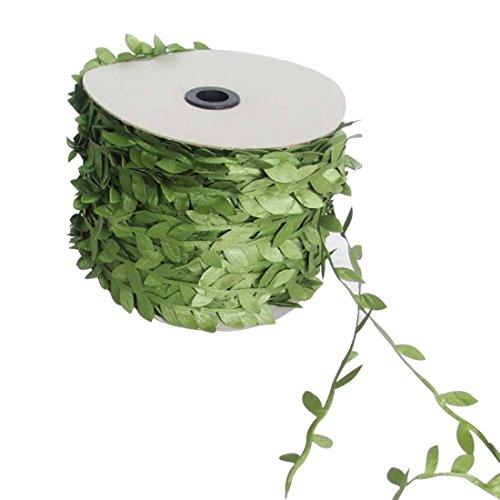 Hemore Kunstpflanze Efeu künstliche Girlande, grüne Blätterband, Kunstpflanzen, Kunstpflanzen, grüne Blätter, aus Rattan mit Flechtgeflecht, Gewebe, Dekoration für Gartenparty, 10 m -