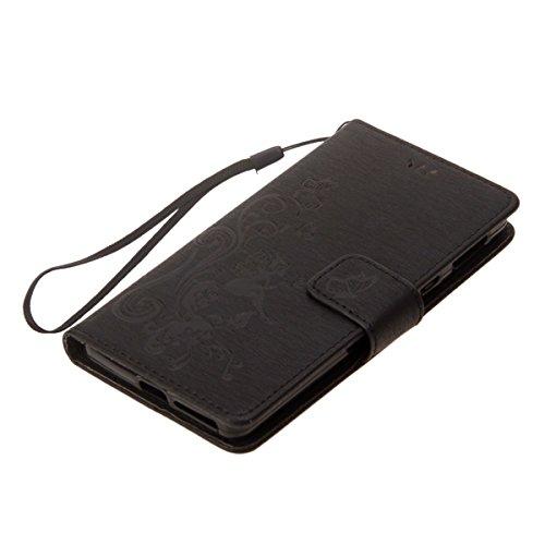 Hülle für Sony Xperia XA1, Tasche für Sony Xperia XA1, Case Cover für Sony Xperia XA1, ISAKEN Blume Schmetterling Muster Folio PU Leder Flip Cover Brieftasche Geldbörse Wallet Case Ledertasche Handyhü Schmetterlinge Mädchen Schwarz