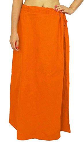 Saree sottogonna in cotone indiano fodera per Sari Bollywood regalo per donne Orange Taglia unica