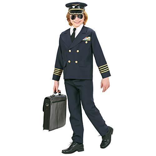 Flugkapitän Kostüm - Widmann 73148 - Kinderkostüm Pilot, Jacke, Hose und Hut, Größe 158