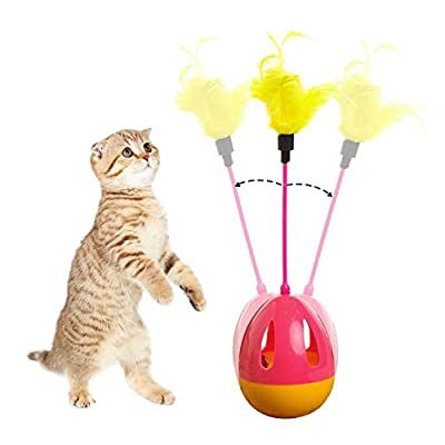 Tumbler Kitten Toys Balls Interactive Cat Toys Teaser Wands with Feathers