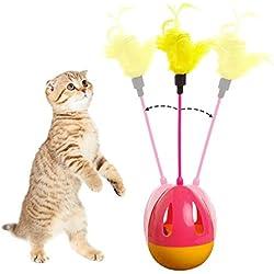 Vaso gato juguetes bolas interactivo gato juguetes bastoncillos con plumas