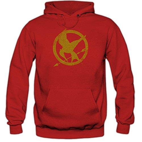 Shirt Happenz Tribute von Panem Hoody | Herren | Fantasy | Science-Fiction-Film | Film-Fun-Hoodies | Kapuzenpullover, Farbe:Rot (Red F421);Größe:S -